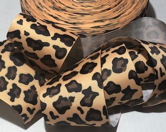 Safari Leopard print grosgrain jungle tik tock cheer ribbon