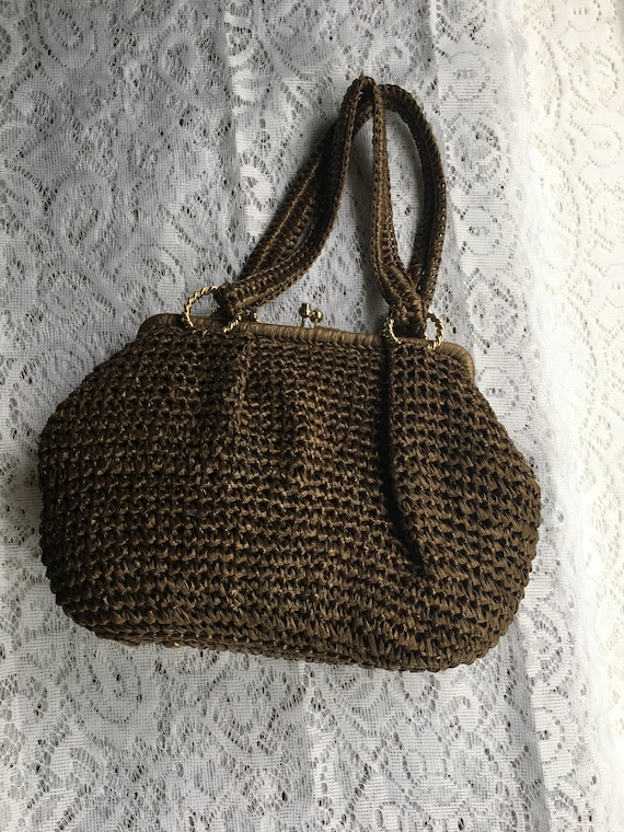 WOVEN MARCHIONESS PURSE Vintage Brown Handbag