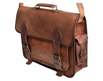 15 16 18 inches Genuine Natural Goat Leather Messenger Laptop Satchel Bag  for men   women   Retro Vintage   Briefcase   handbag   Book bag 12226a3f13553