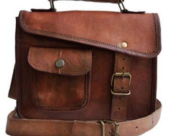 11 13 15 16 18 inches Genuine Leather Vintage Messenger Satchel Shoulder Laptop  Bag for Men Women Brown   handbag Goat Leather Unisex Retro 59b449079f1e1