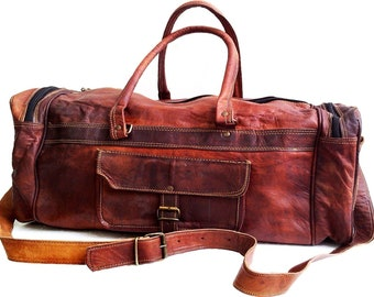 20 22 24 26 28 inches Men women Genuine Leather Duffle Gym Large Travel  Weekend Sports Luggage Bag Brown   handbag Goat Leather Unisex 7965e80108