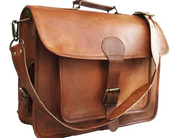 15 16 18 inches 100% Genuine Leather Vintage Messenger Satchel Shoulder Laptop  Bag for Men Women Brown   handbag Goat Leather Retro c0e37c4f1b3c0