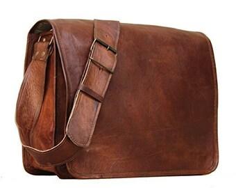 31f97cdf6d 15 16 18 inches Leather Full Flap Messenger Bag Laptop Bag Satchel Bag  Padded Messenger Bag School Bag Brown   handbag Goat Leather