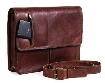 687993a0a882 15 16 18 inches Genuine Leather Vintage Messenger Briefcase Satchel  Shoulder Laptop Bag Men Women Brown   handbag Goat Leather Vintage