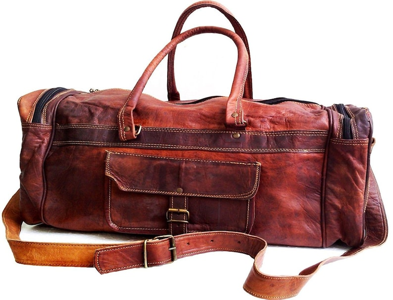 Leather luggage gym weekend overnight Genuine Duffle bag large vintage 24 inch