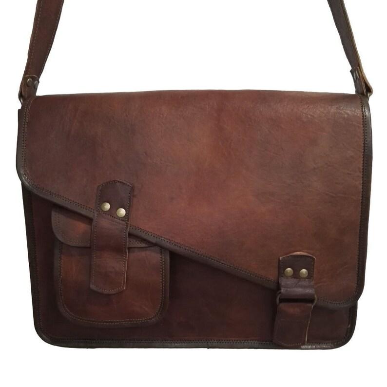 d94885522a 15 16 18 inches 100% Genuine Leather Vintage Messenger Satchel