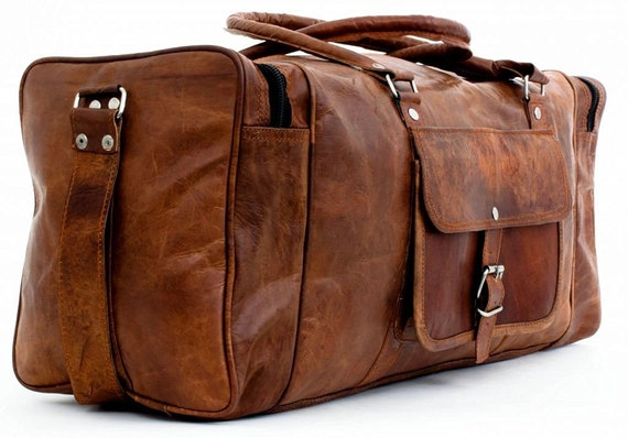 7a8bd35525a9 20 22 24 26 28 inches Distressed Leather Holdall Overnight