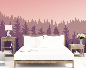 Misty Forest Wallpaper Scenery With Pine Mural Removable Ombre Mountains  Peel And Stick Wallpaper Self Adhesive Wallpaper Bedroom SO19