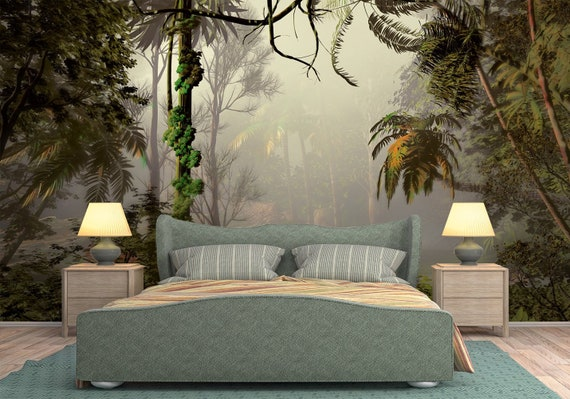 Tropical Forest Wallpaper Mural Removable Misty Forest Nature Peel And Stick Wallpaper Self Adhesive Wallpaper Bedroom Nursery Wall Art