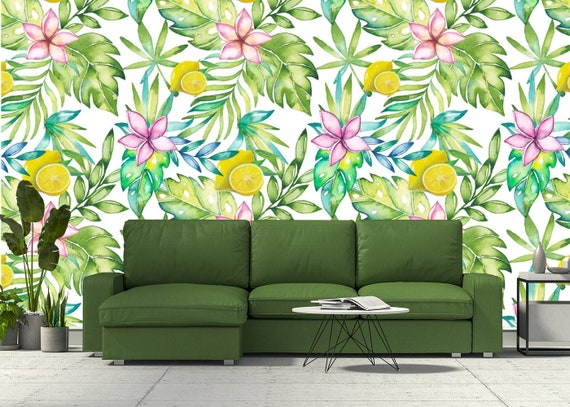 Floral Wallpaper Lemon Tropical Leaves Removable Green Peel And Stick Wallpaper Mural Self Adhesive Wallpaper Nursery Bedroom Wall Art