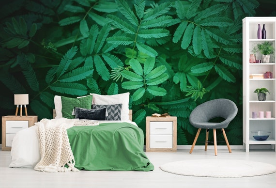 Floral Wallpaper Removable Green Peel And Stick Wallpaper Mural Tropical Leaves Self Adhesive Wallpaper Dark Rainforest Bedroom Wall Art Ob1