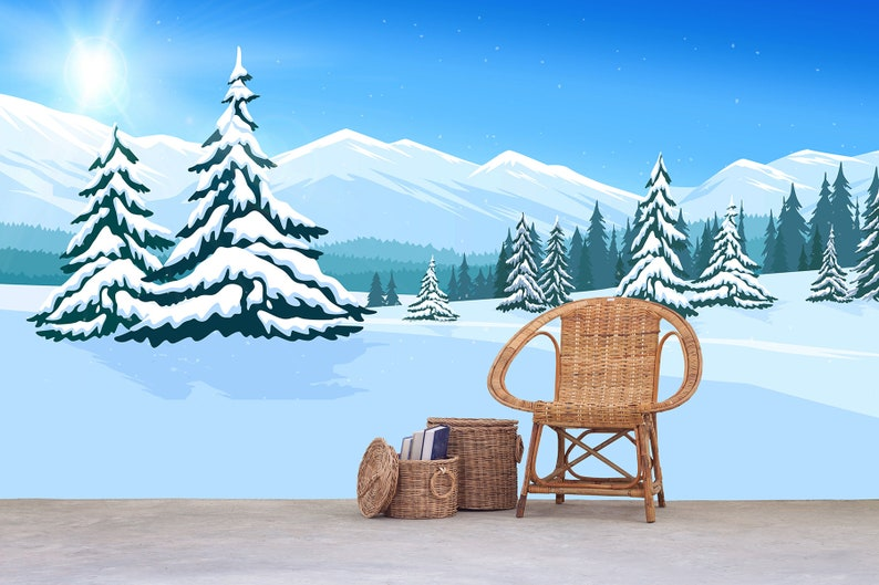 Mountain Wallpaper Removable Mural Winter Landscape Mountain Scenery with Pine Peel and Stick Wallpaper Self Adhesive Wallpaper Bedroom SO11