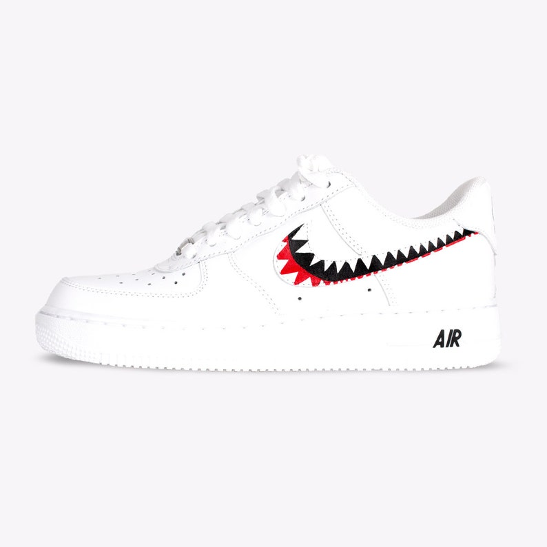 Hand 'shark Born Custom Unisex 1 Air Sneaker Originals Nike Force Teeth' Painted m0wN8n