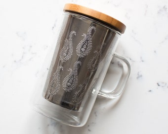 Glass Mug with Paisley Patterned Infuser and Bamboo Lid by Safar London