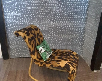 Doll House 1/6 Scale Barbie Doll Size Rocking Chair Leopard Fabric