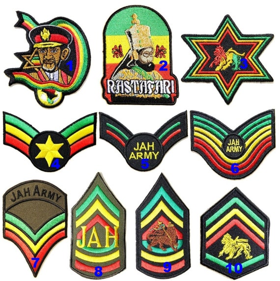 Rastafari Conquering Lion of The Tribe of Judah Rasta Jamaica Africa Reggae Patch Iron on Sew Embroidered Applique Logo Badge Sign Symbol Embelm T Shirt Jacket Vest Bag Baseball Cap Decorative Craft