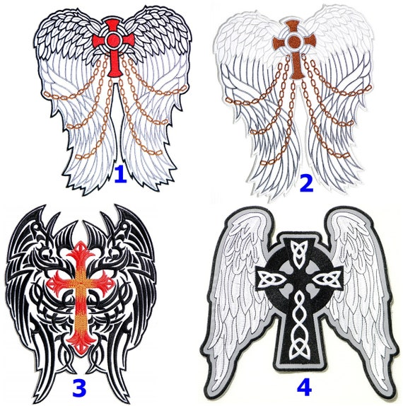 XL Angel Wings Rose Skull Lady Rider Rockabilly Back Patch Iron On Applique Hot fix Craft T shirt Jacket Vest Decorative Costume Gift