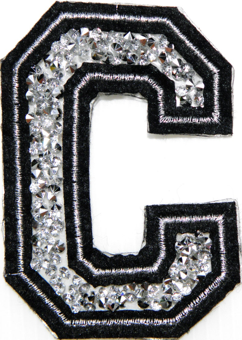 3 A-Z Letter Crystal Diamond Sparkle Name Tag Badge Patch Iron On Sew Hot fix Craft Clothes T shirt Jacket Decorative Costume Gift