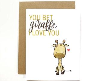 Cute Greeting Card Giraffe Congratulations Graduation Punny Funny Card Envelope You Can Bet Giraffe We/'re Proud of You