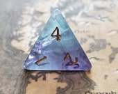 Set Of Gemstone Fluorite Hand Carved 7 Polyhedral Dice DnD Dice Set - Dungeons and Dragons, RPG Game DND MTG Game
