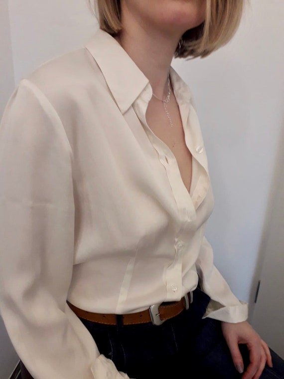 Silk ivory classic blouses vintage - image 2