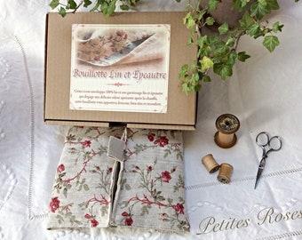 Bouillotte de lin et épeautre-Bouillotte sèche «Petites Roses » made in France