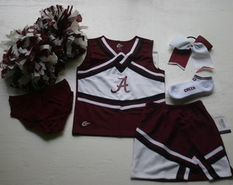 AUBURN TIGERS CHEERLEADER COSTUME OUTFIT HALLOWEEN CHEER SET POM POMS BOW 3T
