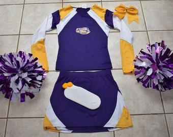 7e6fe9643 LSU tigers cheerleader halloween costume outfit pom poms cheer hair bow  uniform ladie s 6-8 medium