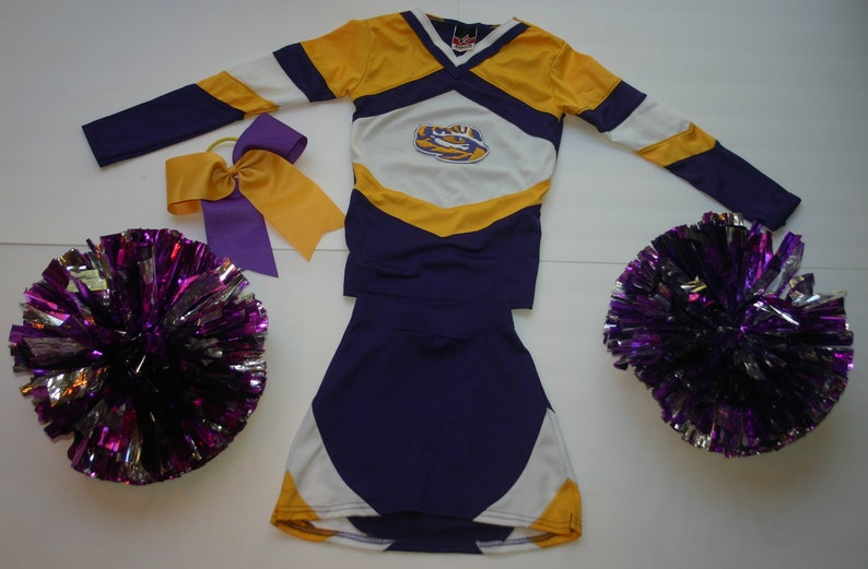 LSU tigers cheerleader COSTUME uniform outfit DELUXE pom poms bow 4 4t little girls