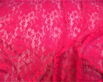 """Climbing Roses Embroidered FUCHSIA Lace Mesh Fabric 56/"""" Sold yard"""