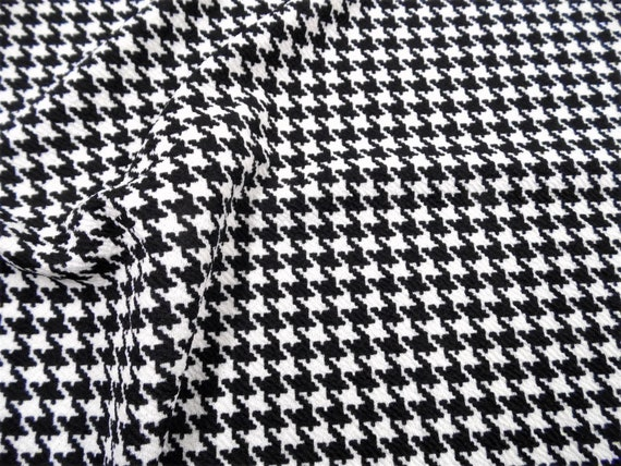 Techno Knit Polyester Poly Spandex Black /& Ivory Houndstooth Fabric by the Yard