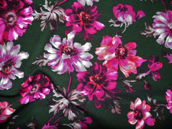 Printed Liverpool Textured Fabric 4 way Stretch Ivory Mauve Burgundy Floral G100