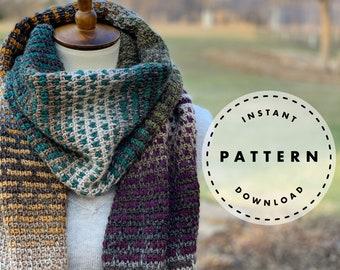Tunisian Crochet PATTERN // Modern Scarf PATTERN // Color Shift Tunisian Scarf