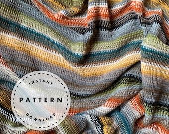 TUNISIAN SCRAPGHAN // Tunisian Crochet Pattern // Modern Blanket Pattern