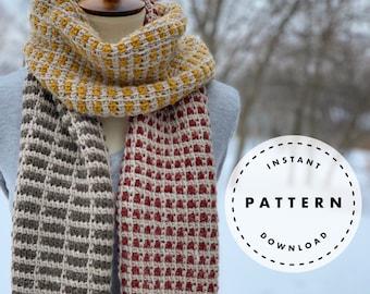 Tunisian Crochet Scarf PATTERN // Modern Scarf PATTERN // Gridlocked Tunisian Scarf