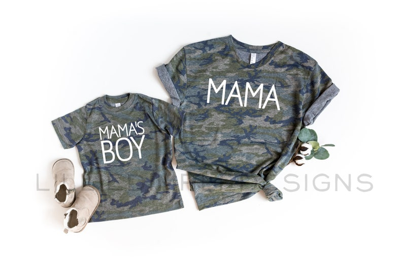 """What do you think of Mama & Mama's Boy Matching Shirt Set? We usually see mom and daughter wear matching shirts, why don't you break this """"usually""""? Go ahead and get them now. These shirts will be a cute mothers day gift for mom as it is not only fashionable but also shows how proud you are to be her son."""