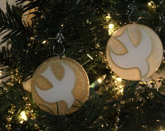 Descending Dove Chrismon Ornament (White or Gold)