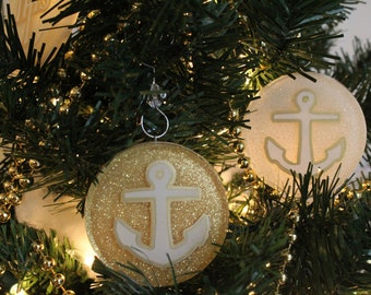 Anchor Chrismon Ornament (White or Gold)