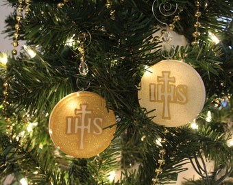 IHS Cross Chrismon Ornament (White or Gold)