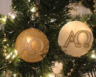 Alpha and Omega Chrismon Ornament (White or Gold)
