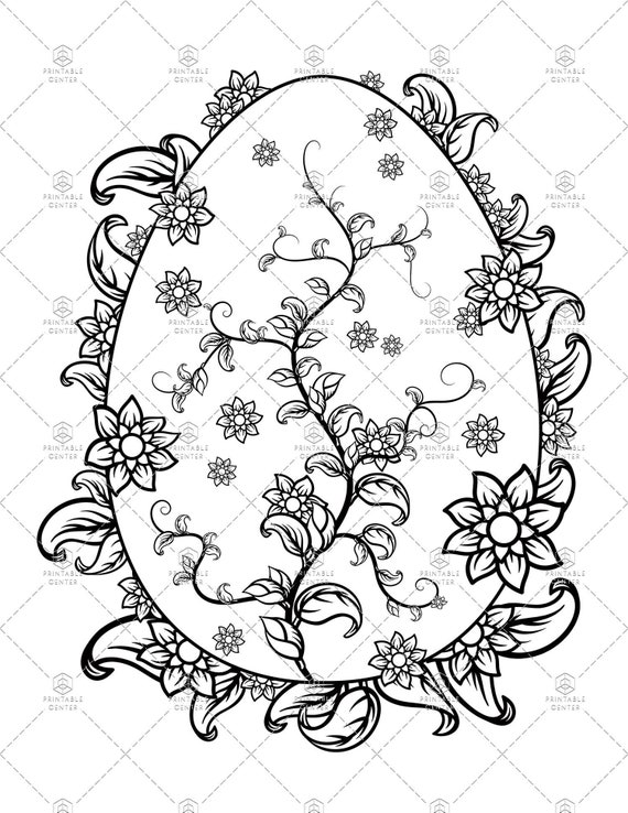Easter Egg Coloring Page with Delicate Vines and Flowers