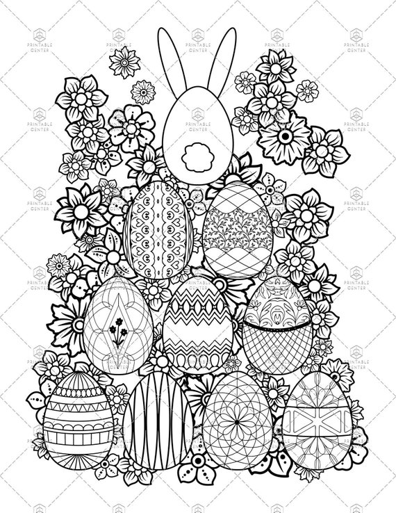 Easter Egg Coloring Page - Egg pyramid with a bunny on top!