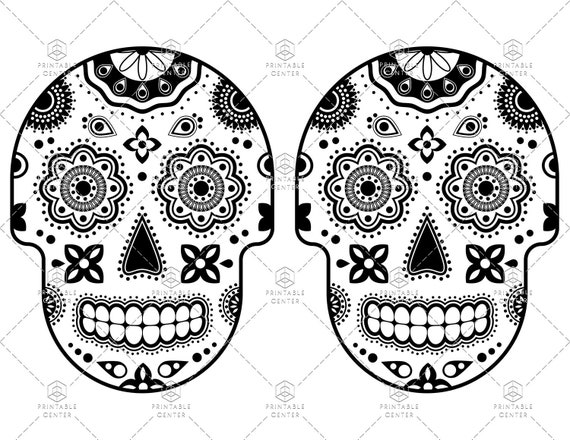 Sugar Skull Printable Coloring Page for Day of the Dead and Halloween - 2  Skulls Per Page