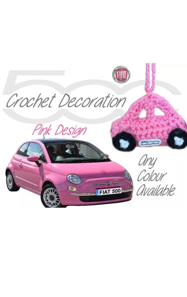 Handmade Crochet Fiat 500 Mirror Hanging Car Decoration Accessories Red Design