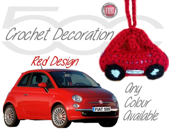 Handmade Crochet Fiat 500 Hanging Car Mirror Decoration Accesory Pink Design