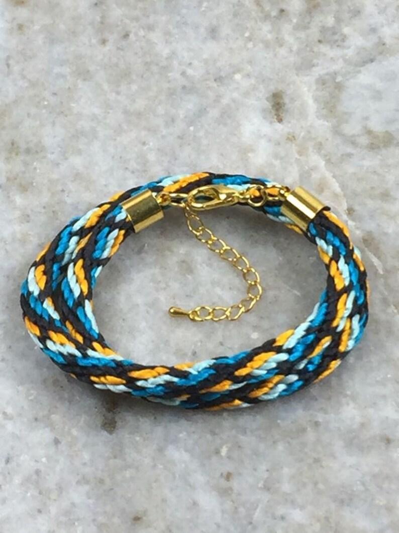 and Black Hand Braided Kumihimo Wrap Bracelet Gold Blue