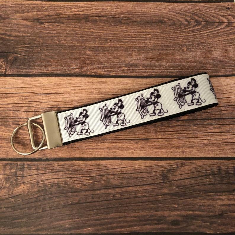 Wristlet Key Lanyard Strap Key Fob Wristlet Keychain- Wrist Lanyard Wristlet Key Fob Steamboat Willie Key Fob