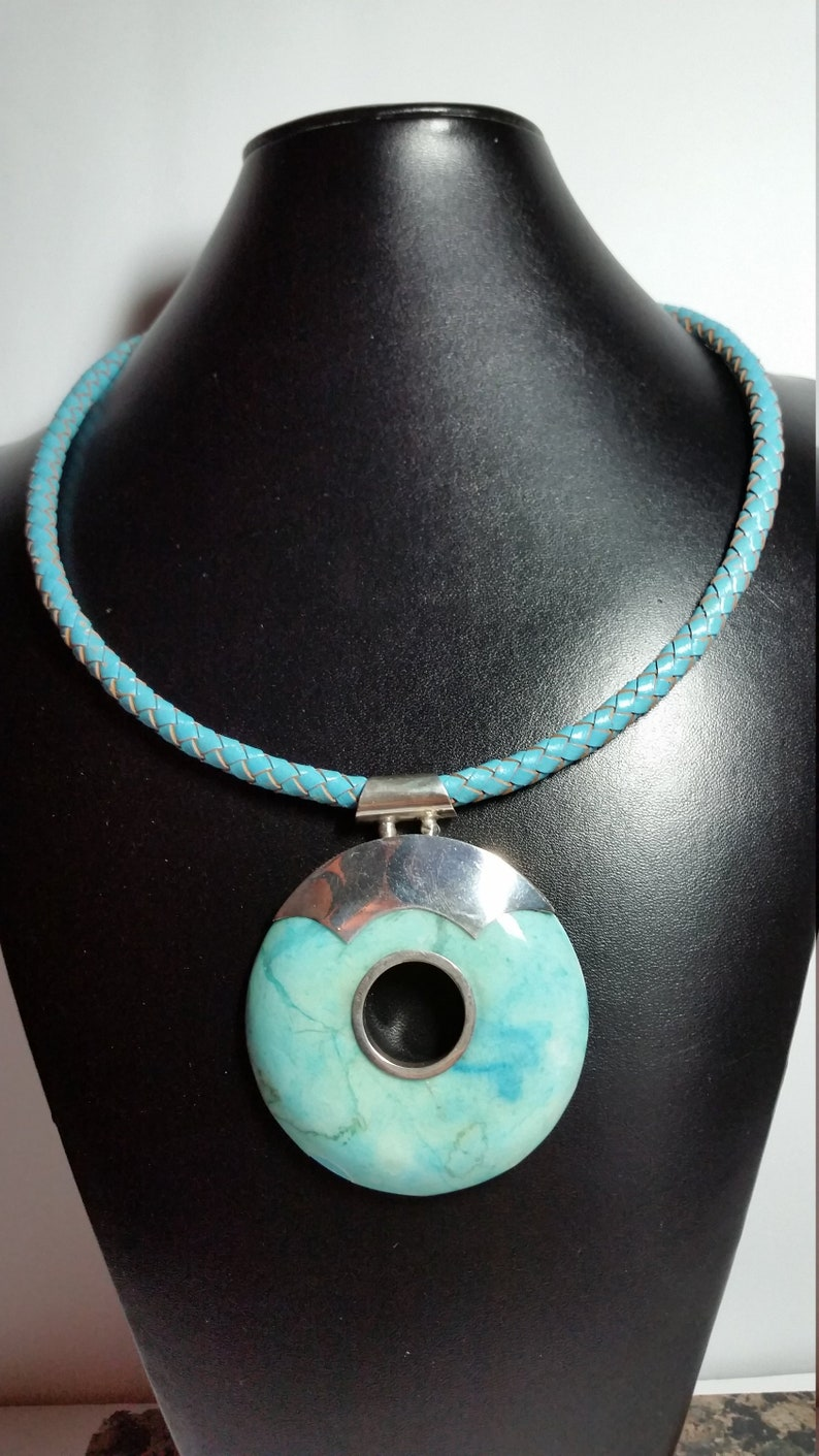 Round Turquoise Pendant in .925 Sterling Silver And leather Bolo Cord