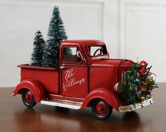 Vintage Red Truck Christmas Decor.Red Christmas Truck Etsy