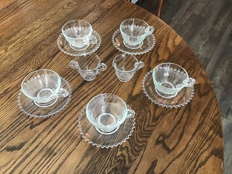 Five Imperial Candlewick Etched Cups and Five Saucers Sugar and Creamer